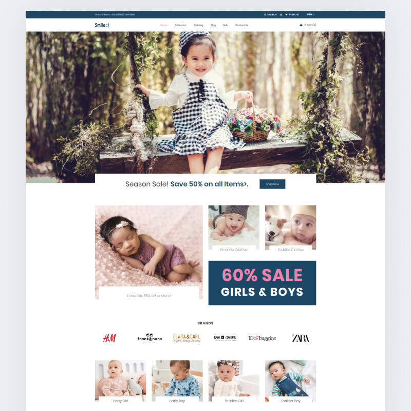 Smile - Simple Baby Clothing Store theme