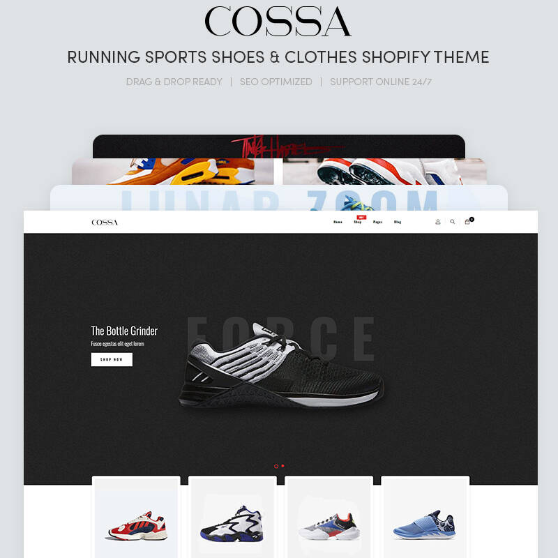 Cossa - Running Shoes, Sports Shoes & Clothes theme